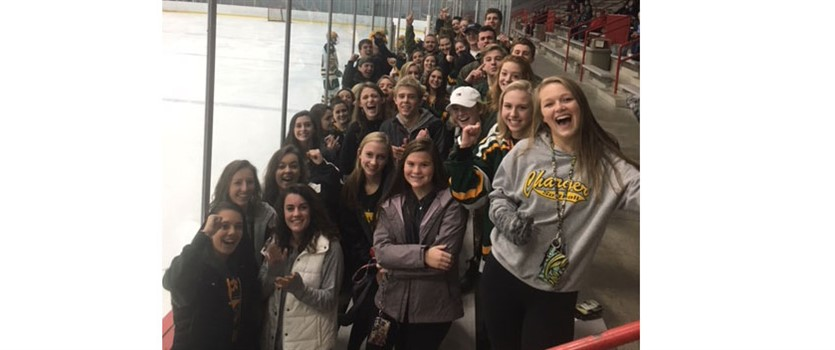 Dow High Students at a Hockey Game