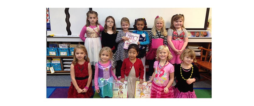 Woodcrest Students with Fancy Nancy Books